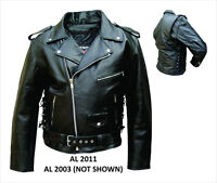 Mens Classic Black Buffalo Leather Motorcycle Jacket w Side Lace Zip Out Lining
