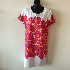 Joan Vass Floral Shirt Dress Short Sleeve Knit Stretch Women's Size 2 NWOT