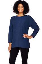 Isaac Mizrahi Live! SOHO Relaxed Pullover Sweater,Navy Heather, Size XXS, $69