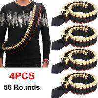 4pcs 56 Rounds Shotgun Shell Holder 12/20GA Bandolier Ammo Belt Tactical Hunting