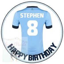 MANCHESTER CITY FOOTBALL SHIRT PERSONALISED EDIBLE PRINTED ICING CAKE TOPPER