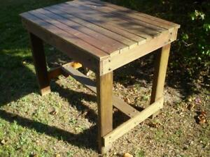 Industrial warehouse style solid hard wood work bench decorator statment table
