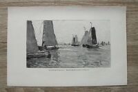 Kunstdruck 1 Blatt 1900/01 Holländische Fischerboote na Gemälde Hans von Bartels