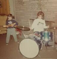 "1960s Cute Girls Band ""The Beatles Bugs"" Pose Drum Kit Vtg Photo Snapshot Found"