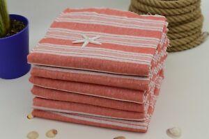 40x67 Thin Orange Towel,Turkish Towel,Turkish Beach Towel,Striped Towel Emr-Aqua