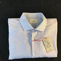 "BNWT TED BAKER Men's Jaspe Endurance Blue Long Sleeve Shirt Collar 17.5"""