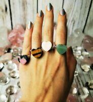 Handmade Crystal Heart Silver Ring, Boho Ring, Healing Crystals and Stones