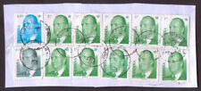 Spain King Juan Carlos definitive stamps x 12 used on small piece.