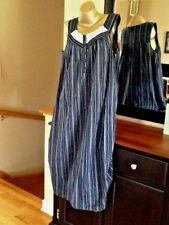 Women's  Croft & Barrow Crochet Long Navy Blue Stripe100% Cotton Nightgown 3X
