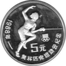"""5 Yuan Münze China 1988 """"Fechten"""" PP Silber 900"""
