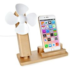 Wooden Cell Phone Stand,Natural Wood Smartphone Holder with Usb Fan Us Shipping