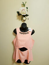 ✿♡ 'TEMT' Womens Top Size 14 (Cute Baby Pink Peplum Formal Evening) ♡✿