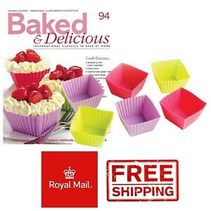 6 Square Cupcake Silicone Moulds Cases Baking Souffle Dessert Cakes Chocolate