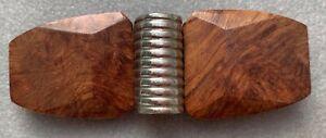 Boucle de ceinture style Art Déco—Deux parties—Bois et métal—Longueur 7,8 cm