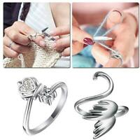 Knitting Sewing Tool Finger Ring Loop Crochet Line Needle Thimble Accessory UK