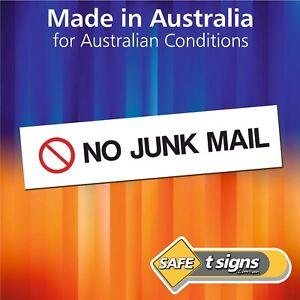No Junk Mail - Sticker 125 x 30mm - Self Adhesive Vinyl Decal- Australian Made