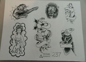 Vtg 1978 Picture Machine Spaulding Rogers Tattoo Flash Sheet 237 Skull Eagle