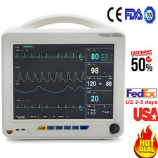 US 12-inch ICU 6-Parameter Patient Monitor NIBP SPO2 ECG TEMP PR Life Signs Exam