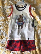 NWT Lucky Brand $48 Tank Shirt Bear Hawaiian Red Blue Shorts Set 5 Boys