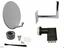 Universal 60cm Satellite Dish With Wall Mount & Quad LNB/ Installation Kit