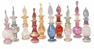 LOT / Set of 50 tiny Mouth blown EGYPTIAN PERFUME BOTTLES Pyrex Glass
