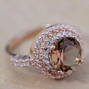 2Ct Round Cut Peach Morganite & VVS1Diamond Engagement Ring 14K Rose Gold Finish