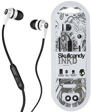 Skullcandy S2IKFY-074 WHITE/BLACK INK'D 2.0 In-Ear Headphones w/Mic / Brand New