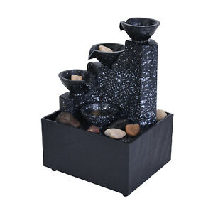 Black Mini Water Fountain with LED Light Natural River Stones Home Decoration