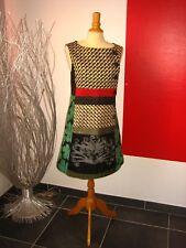 ELEGANTE ROBE BRODée PATCHWORK TISSUS EMBROIDERED DRESS DESIGUAL T 44 UK 16 18