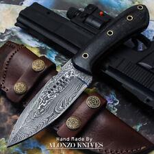 ALONZO USA CUSTOM HANDMADE DAMASCUS HUNTING  SKINNER KNIFE MICARTA HANDLE 15964