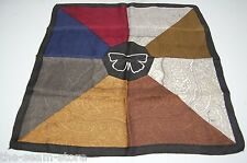"""8 in 1 Silk Pocket Square 19"""" Red Blue Brown Gray Paisley Print Butterfly Black"""