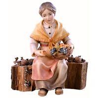 Statue Skulptur Oma Auf Stamm CM 15 IN Holz Der IN Gröden Dekoriert Hand
