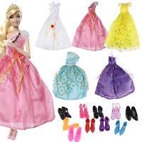 5X Kleidung Prinzessinnen Kleid Kleider Hochzeit +10 Paar Schuhe Geschenk
