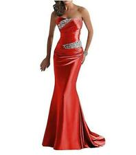Women's Satin Strapless Evening Wedding Party Fishtail Dress Cocktail Prom a9544