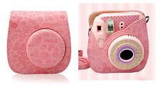 Leather Cartoon Camera Case Bag  For Fuji Fujifilm Instax Mini 8 Mini 8s Pink