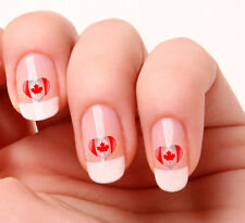 20 Nail Art Decals Transfers Stickers #721 - Canadian Flag Heart Maple Leaf