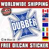 DUBBER IRON CROSS car sticker blue old school dub vw  85mm