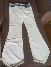 Fab Indian Rose white jeans blue denim trim waist 31 UK 12