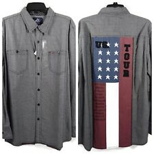 Mens LS Shirt Large Chambray Button Front American Flag Authentic Icon Western