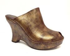 BORN Crown Size 7 Gilded Bronze Wedge Slide Sandals Heels Shoes