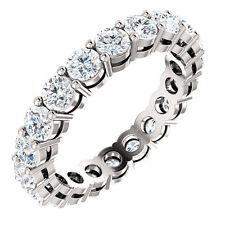 2.00ct I2-J Natural Round Diamond Wedding Ring 18K White Gold 3mm Eternity Ring