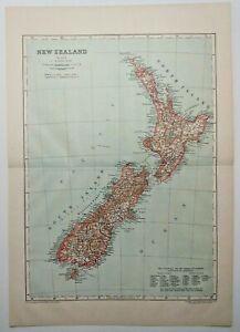1911 Vintage NEW ZEALAND Atlas Map Old Antique Encyclopedia Britannica