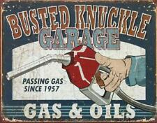 Busted Knuckle Gas & Oils Garage Tin Sign Metal Poster