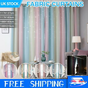 2 Panels Blackout Curtains Ready Made Eyelet Ring Starry Drapes Pair With Tulle