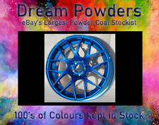 CANDY BLUE LACQUER 1kg & Silver Chrome 1kg Deal Powder Coat Coating ALLOY WHEEL