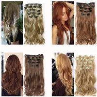 Full Clip Head Extensions cheveux 16 clips réel long naturels comme Set hum R7Q8