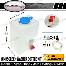 Universal Windscreen Washer Bottle Kit with Pump Hose Jets Wiring Switch 12V