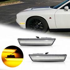 Direct For 08-14 Dodge Challenger Clear Lens LED Amber Front Side Marker Lights