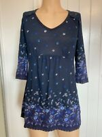Fat Face Tunic Dress Top UK Size 12 Womens Ladies Blue Floral Print Summer