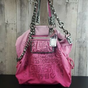 COACH POPPY STORYPATCH PINK OMBRE CRYSTALS BLING JEWELS XL TOTE BAG RARE F15312